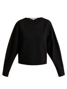 Stella Mccartney - V Neck Step Hem Fine Knit Sweater - Womens - Black