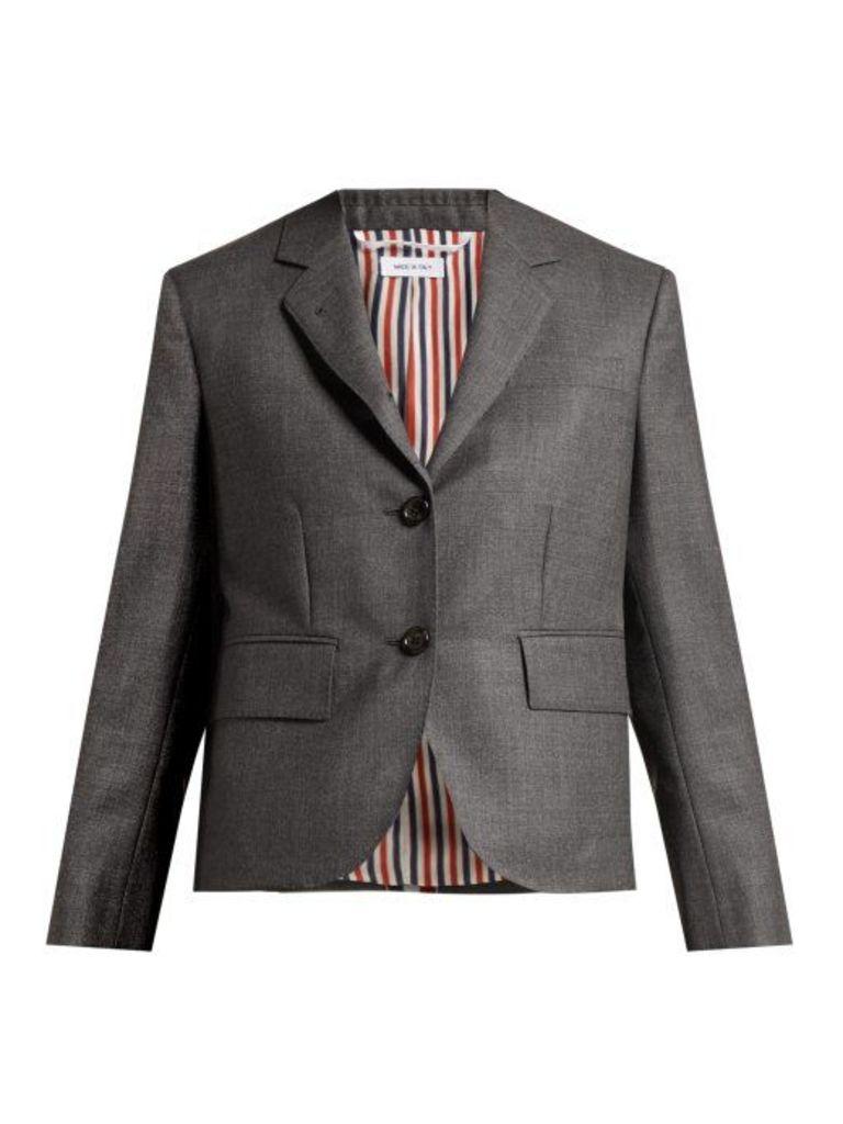 Thom Browne - Striped Wool Suit Jacket - Womens - Dark Grey