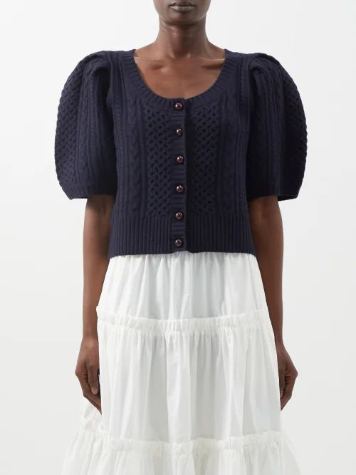 Acne Studios - Shearling Collar Leather Biker Jacket - Womens - Black