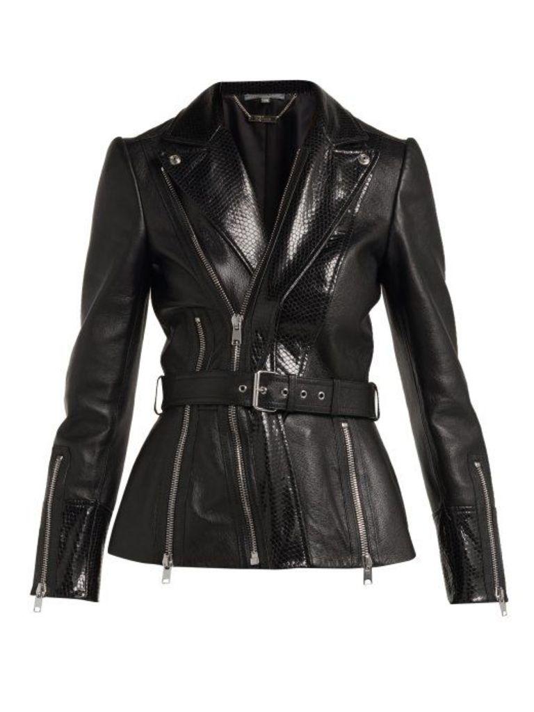 Alexander Mcqueen - Python Effect Leather Jacket - Womens - Black