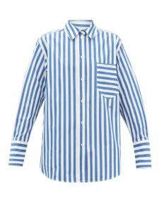 Loewe - Tie-neck Contrast-panel Blouse - Womens - Black