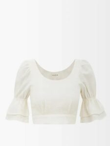 Koché - Ruffled Silk-georgette Blouse - Womens - Cream
