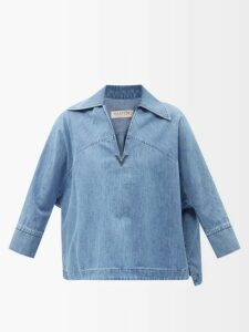 Stella Mccartney - Cable Knit Cropped Sweater - Womens - Blue