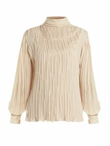Johanna Ortiz - Martina Cespedes Pleated High Neck Blouse - Womens - Cream