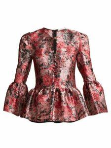 Erdem - Demetria Rose Jacquard Blouse - Womens - Pink Multi