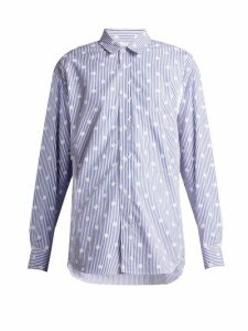 La Fetiche - Nico Polka-dot Printed Striped Cotton Shirt - Womens - Blue White