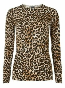 Womens **Tall Black Leopard Print Crew Neck Jumper, Black