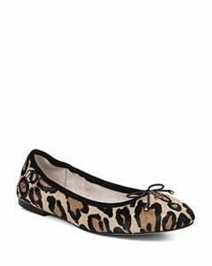 Sam Edelman Women's Felicia Round Toe Leopard-Print Calf Hair Ballet Flats