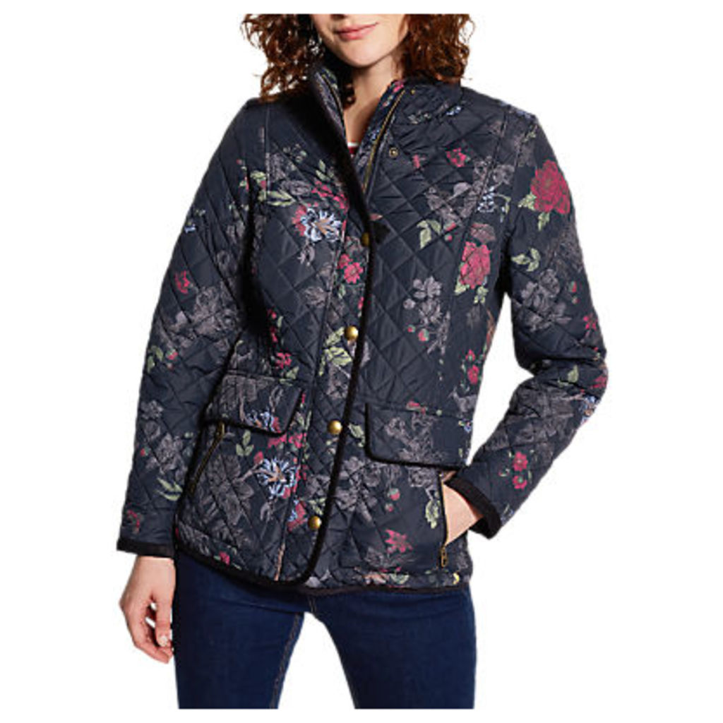 Joules Newdale Print Quilted Jacket, Navy/Multi