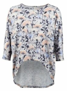 Womens *Izabel London Grey Floral Dip Hem Top, Grey
