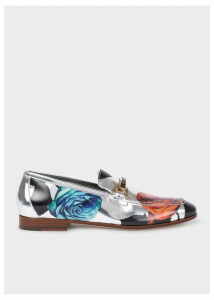 Women's Silver 'Rose' Print Leather 'Grover' Loafers