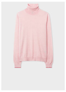 Women's Light Pink Wool Roll-Neck Sweater