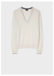 Women's Ecru V-Neck Wool Sweater