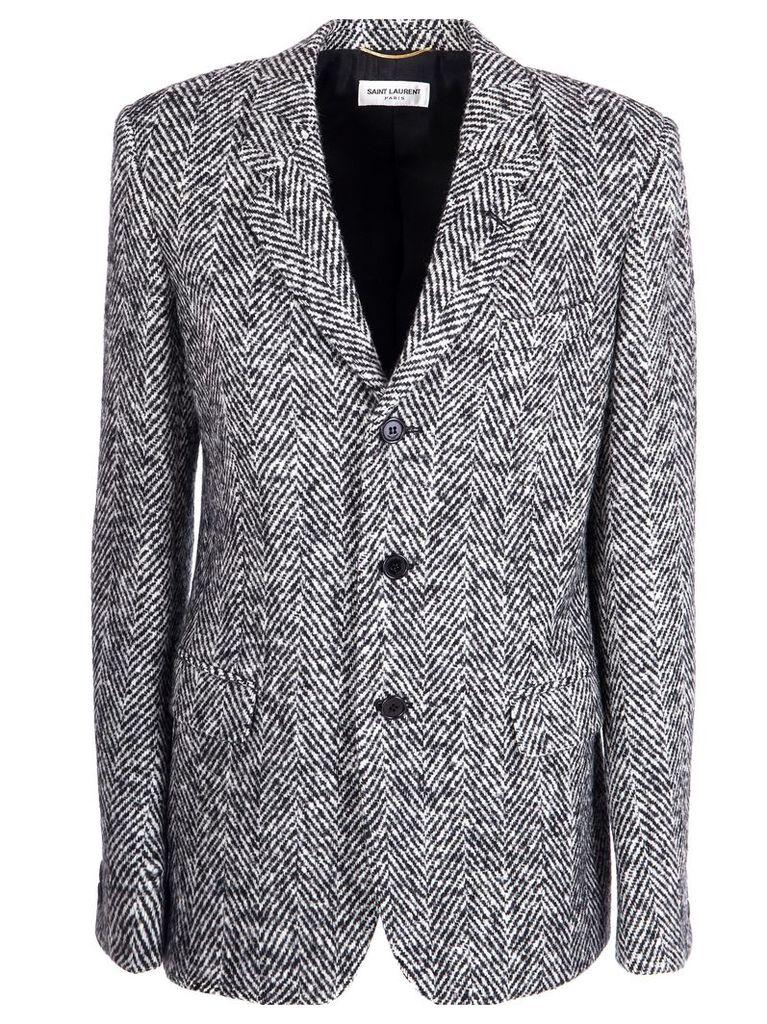 Saint Laurent Herringbone Longline Jacket