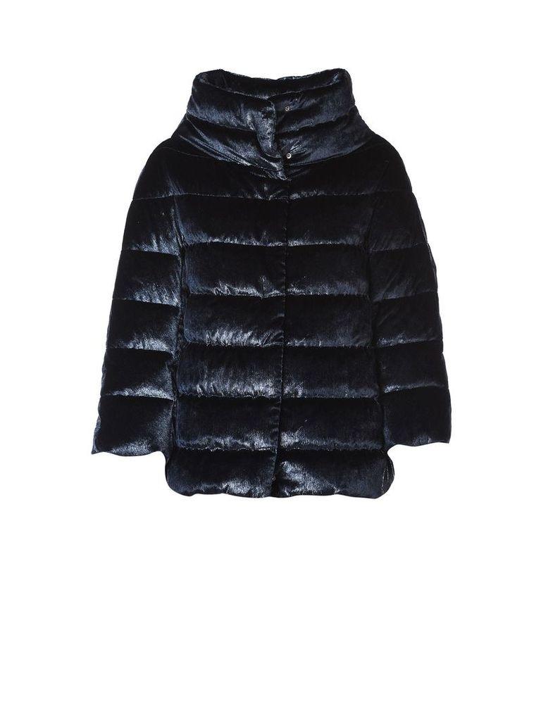 Padded Jacket In Blue Velvet