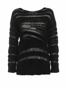 Dondup See-through Mohair And Wool Black Sweater