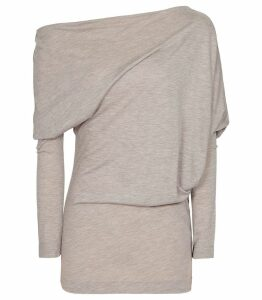 Reiss Norah - Drape Detail Top in Neutral, Womens, Size XL