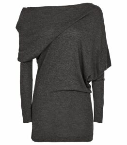 Reiss Norah - Drape Detail Top in Charcoal, Womens, Size XL