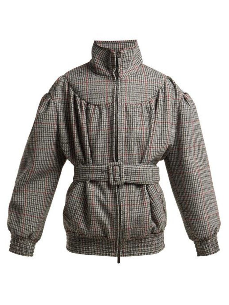 Miu Miu - Houndstooth Wool Jacket - Womens - Grey Multi