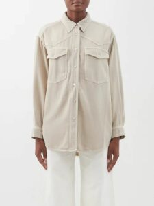 By Walid - Nil Floral Print Ruffled Silk Blouse - Womens - Navy Multi