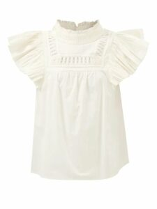 Álvaro - Antoniona Feather Trimmed Leather Sandals - Womens - Black Navy