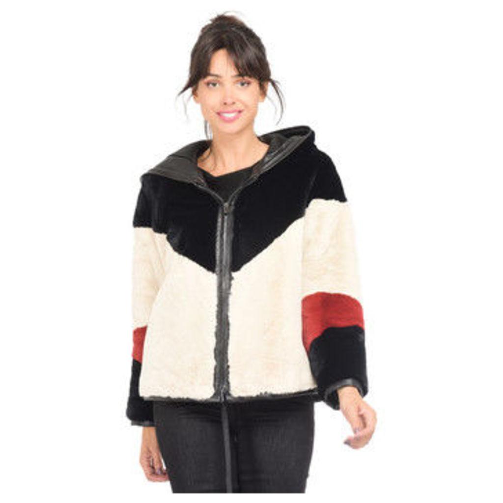 Lauren Vidal  Faux fur jacket VH8362 Off white / Black Woman AH18  in White