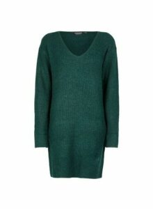 Womens Green V-Neck Tunic Jumper- Green, Green