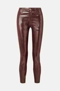 J Brand - Metallic Snake-effect Leather Skinny Pants - Burgundy
