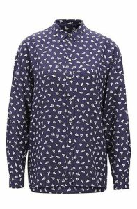 Oversize-fit blouse in printed silk