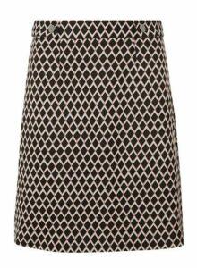 Womens **Tall Black And Pink Geometric Print Mini Skirt, Pink