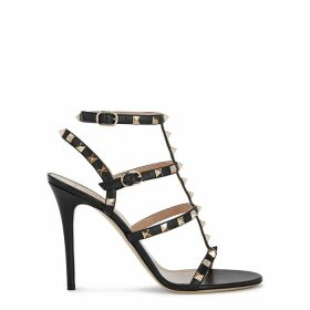 Valentino Garavani Rockstud 100 Black Leather Sandals