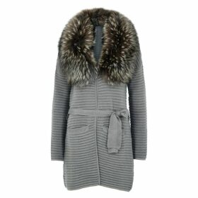 Dom Goor Grey Fur-trimmed Wool-blend Cardigan