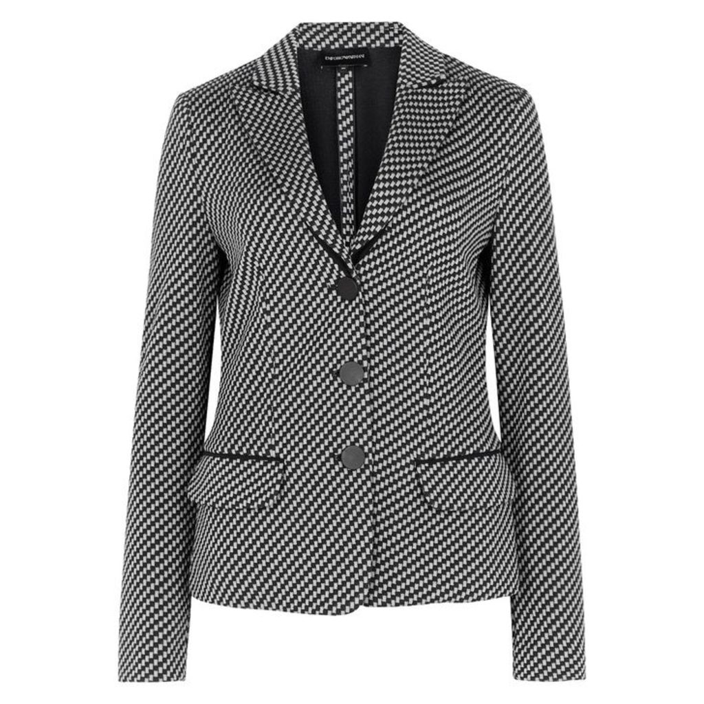 Emporio Armani Checked Wool And Cotton-blend Jacket