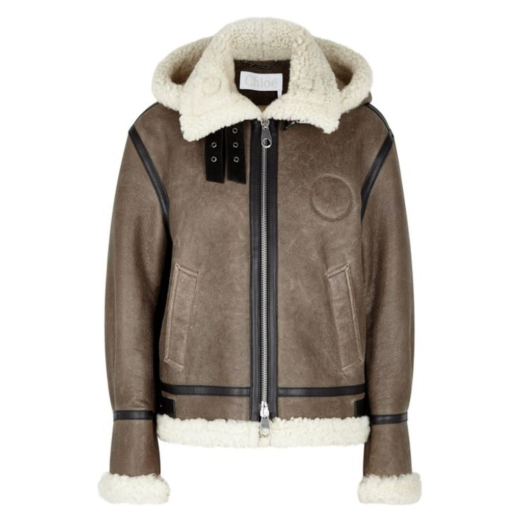 Chloé Shearling-lined Leather Aviator Jacket