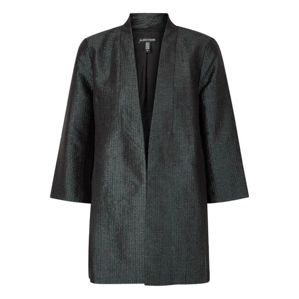 EILEEN FISHER Green Textured Jacquard Jacket