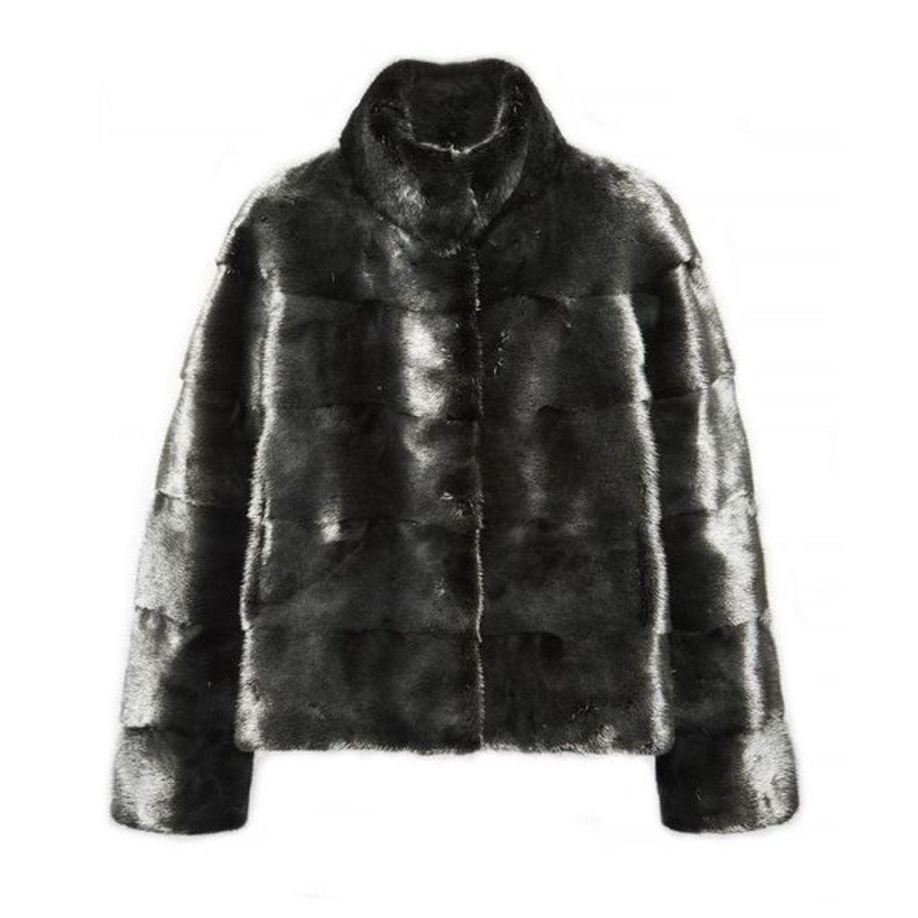 Lilly E Violetta Rosie Silvered Mink Fur Jacket With Collar