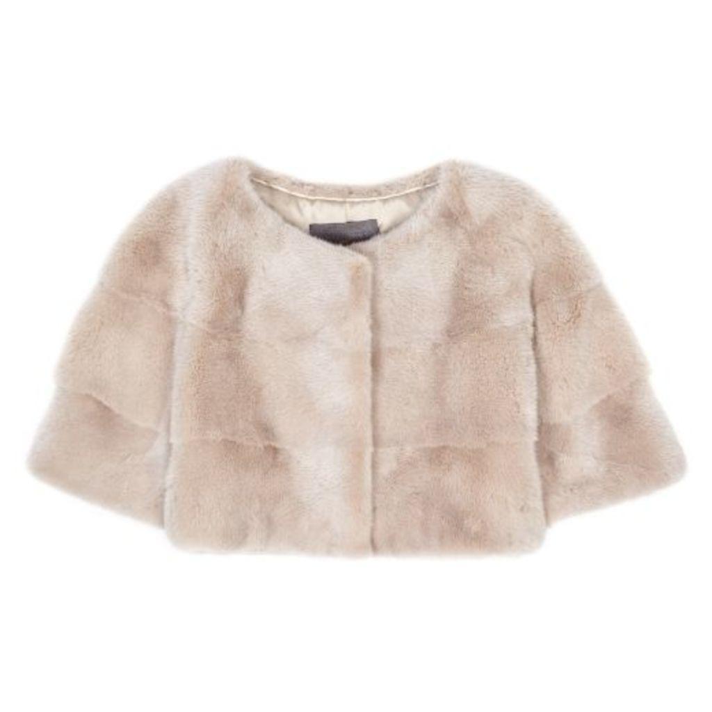 Lilly E Violetta Sarah Mini Mink Fur Jacket Sabbia