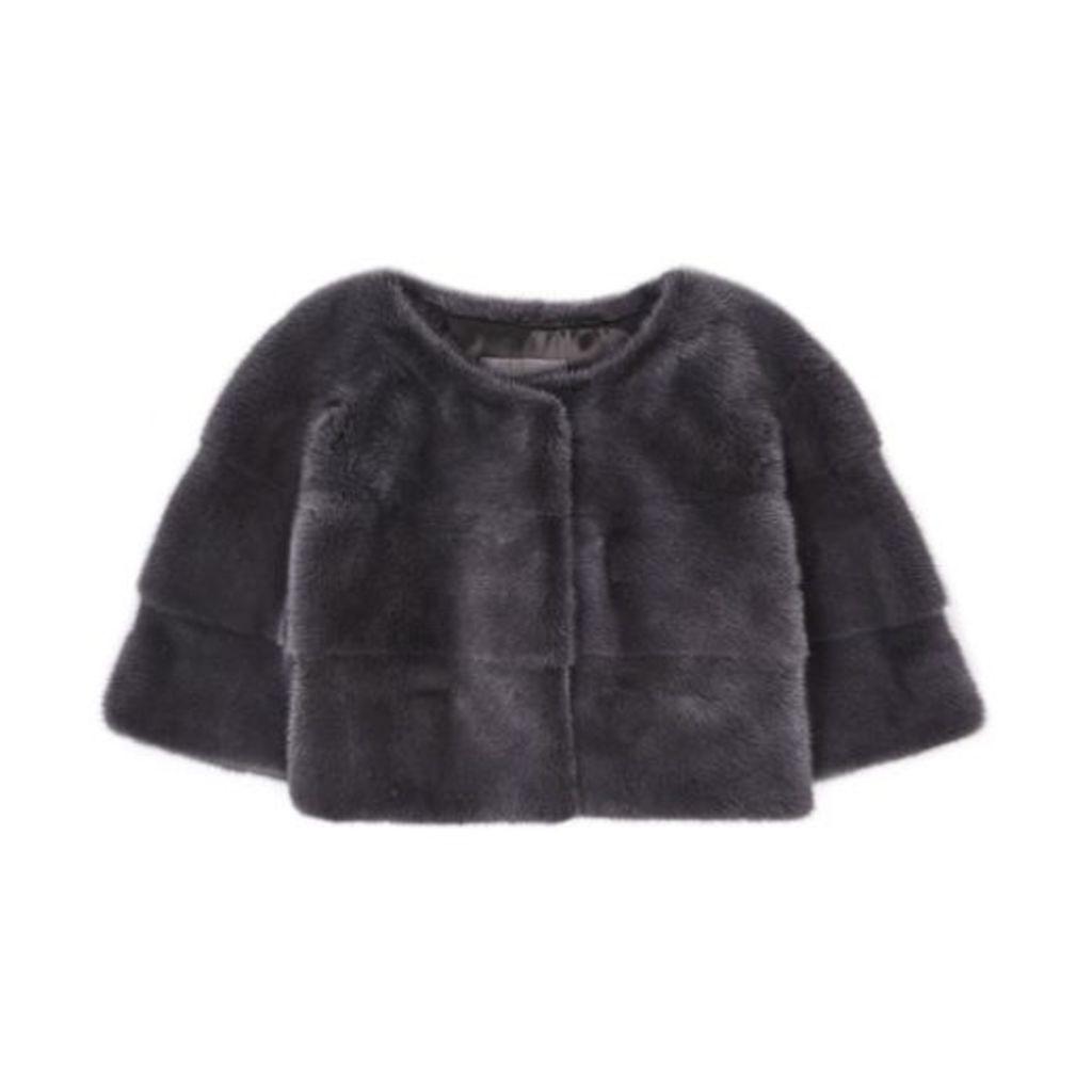 Lilly E Violetta Sarah Womens Mini Mink Jacket Anthracit