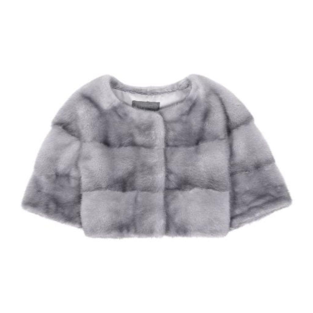 Lilly E Violetta Sarah Mini Mink Fur Jacket Sapphire