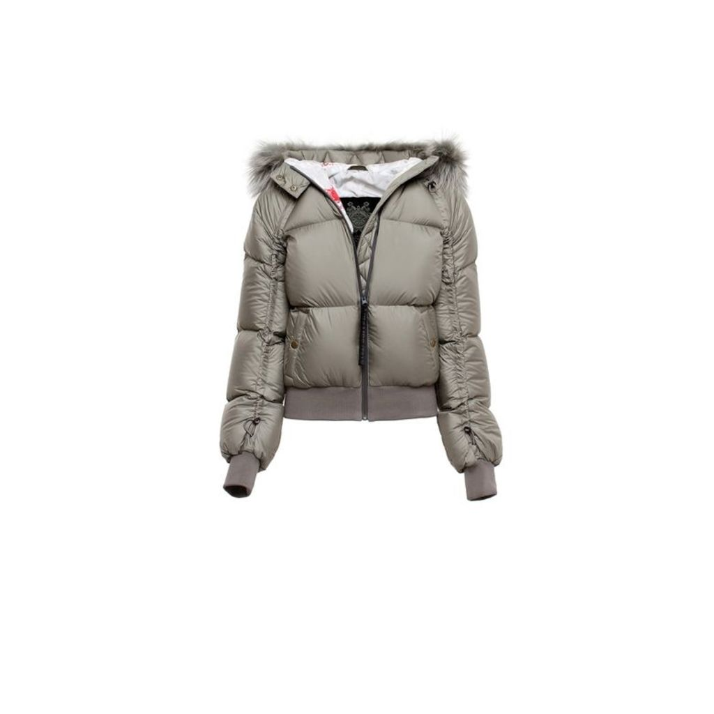 Mr & Mrs Italy Bomber Could Nylon Camu Quilt Raccoon Fur