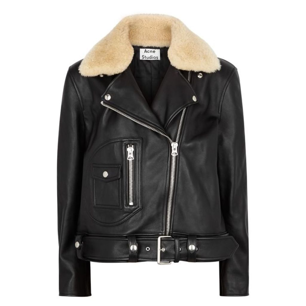 Acne Studios Boxy Shearling-trimmed Leather Jacket