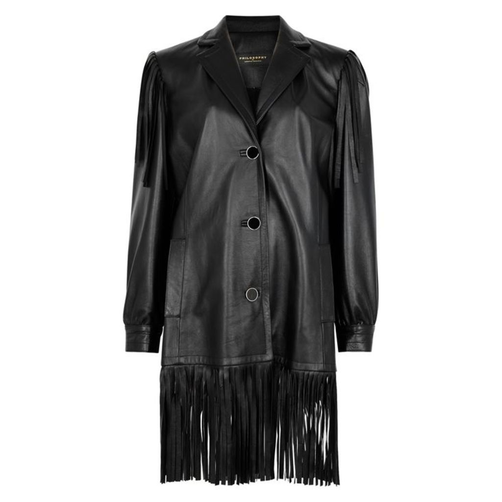 PHILOSOPHY Black Leather Fringed Jacket