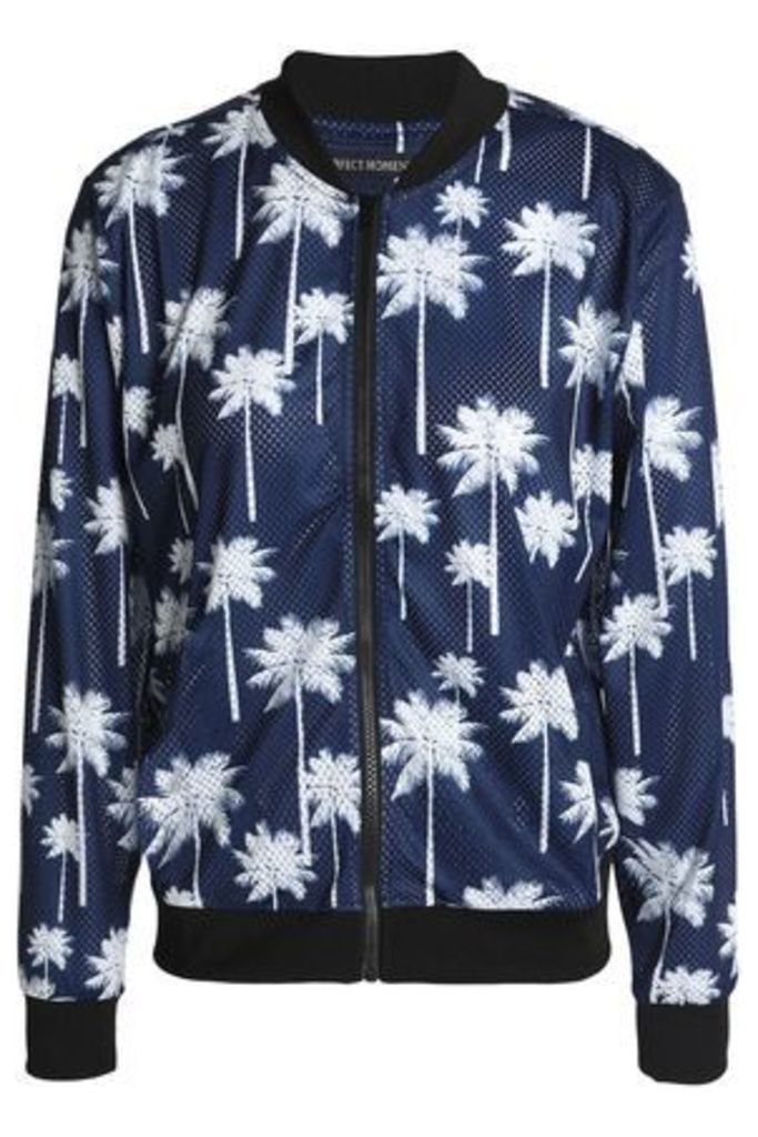 Perfect Moment Woman Printed Mesh Bomber Jacket Navy Size S