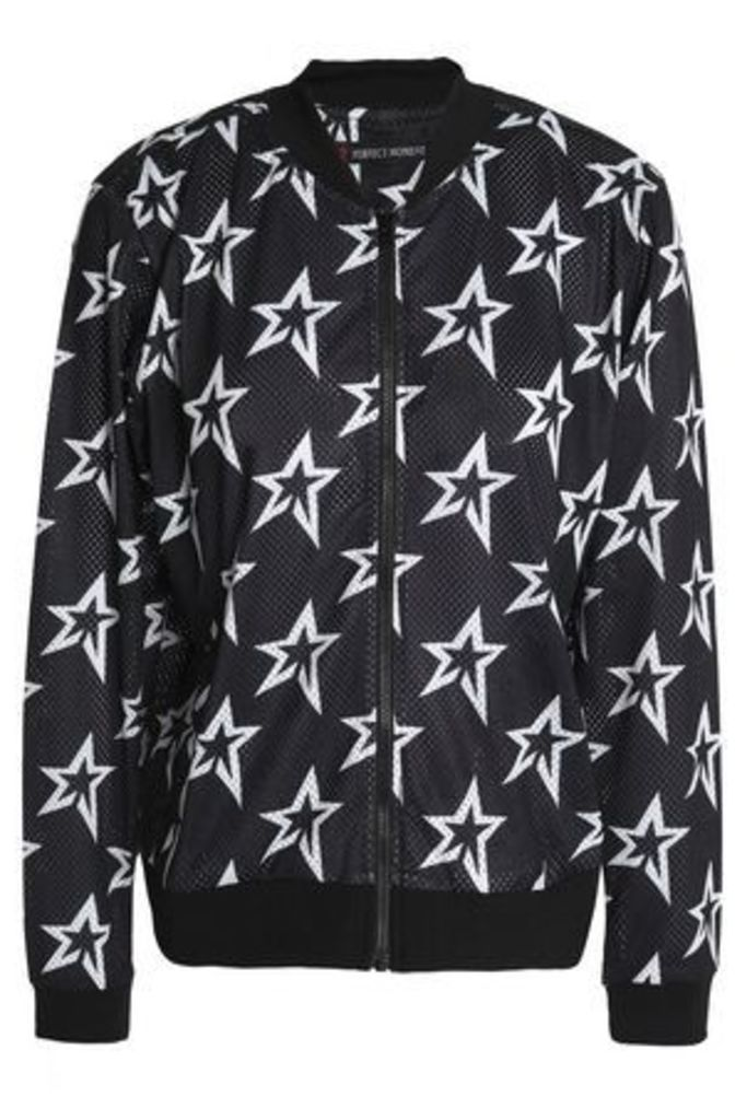 Perfect Moment Woman Printed Mesh Bomber Jacket Black Size S