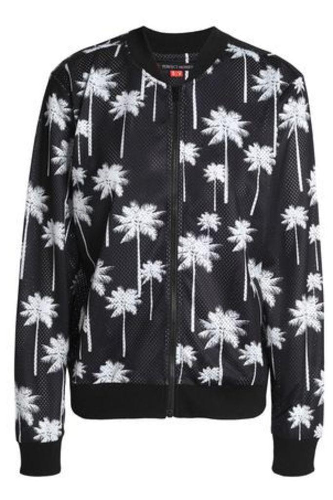 Perfect Moment Woman Printed Mesh Bomber Jacket Black Size XS