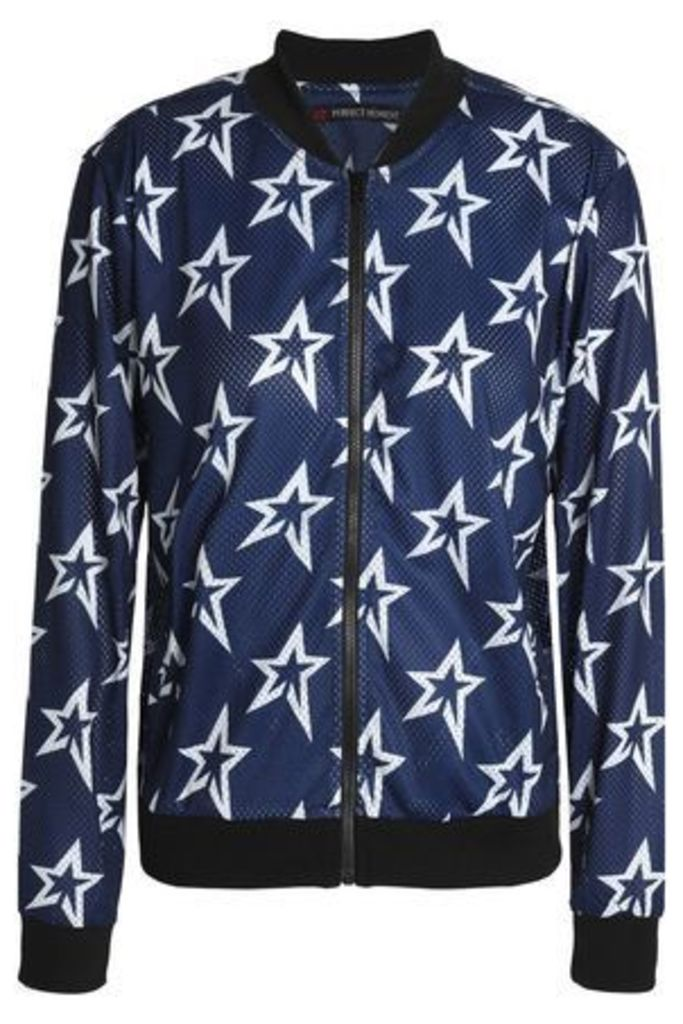 Perfect Moment Woman Printed Mesh Bomber Jacket Navy Size L