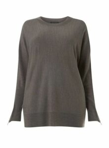 Womens **Dp Curve Grey Batwing Jumper- Grey, Grey