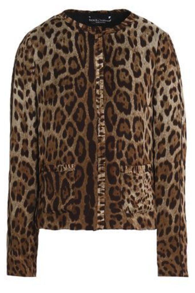 Dolce & Gabbana Woman Ruffle-trimmed Leopard-print Silk-crepe Jacket Animal Print Size 40