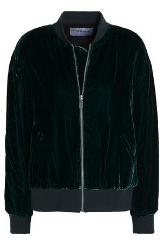 Frame Woman Velvet Bomber Jacket Emerald Size L