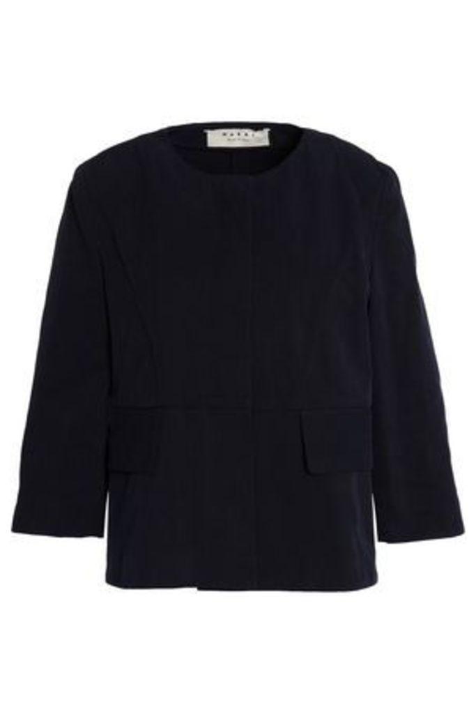 Marni Woman Cotton-twill Jacket Midnight Blue Size 38